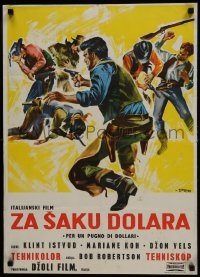 3p0026 FISTFUL OF DOLLARS Yugoslavian 20x27 1965 Leone, Clint Eastwood, different generic art!