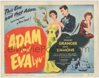 3r0647 ADAM & EVALYN TC 1950 sexy Jean Simmons had Stewart Granger turning over a new leaf!