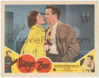 3r1080 DANGER ZONE LC #3 1951 Paula Drew holds gun on Hugh Beaumont before Leave It To Beaver!