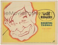 3r0736 DOUBTING THOMAS TC 1935 great close up cartoon artwork of famed humorist Will Rogers' face!