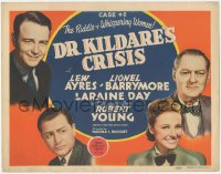 3r0738 DR. KILDARE'S CRISIS TC 1940 Lew Ayres, Lionel Barrymore, Robert Young & pretty Laraine Day!