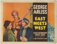 3r0740 EAST MEETS WEST TC 1936 great image of George Arliss & scared Lucie Mannheim with gun, rare!