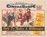 3r0009 HOW TO MARRY A MILLIONAIRE TC 1953 art of sexy Marilyn Monroe, Betty Grable & Lauren Bacall!