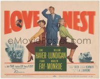 3r0012 LOVE NEST TC 1951 William Lundigan stands between sexy Marilyn Monroe & June Haver!