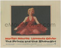 3r0035 PRINCE & THE SHOWGIRL LC #8 1957 classic c/u of sexiest Marilyn Monroe kneeling in red dress!