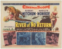 3r0015 RIVER OF NO RETURN TC 1954 great art of Robert Mitchum holding down sexy Marilyn Monroe!