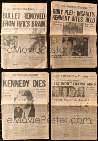 3s0002 LOT OF 8 KENNEDY ASSASSINATION NEWSPAPERS 1960s when John & Bobby were killed!