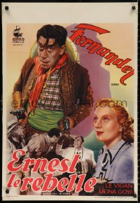 3t0001 ERNEST THE REBEL pre-war Belgian 1938 different art of western cowboy Fernandel, ultra-rare!