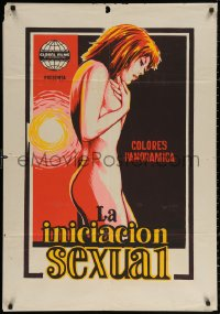 3t0033 LA INICIACION SEXUAL Colombian poster 1960s great completely different sexy art!