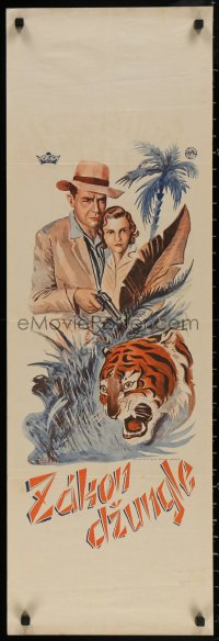 3t0024 ZAKON DZUNGLE Czech 12x38 1930s Stem art of tiger, woman and a man holding gun, please help!