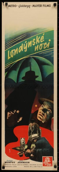 3t0025 LONDON BY NIGHT Czech 13x37 1937 cool different image of George Murphy by menacing umbrella!