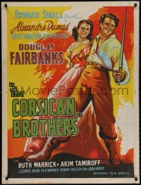 3t0010 CORSICAN BROTHERS Indian R1960s different art of Douglas Fairbanks Jr. & Warrick by Pinto!
