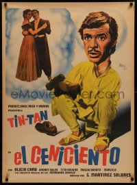3t0018 EL CENICIENTO Mexican poster 1952 different Josep Renau artwork of German Valdes as Tin-Tan!