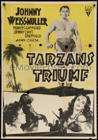 3t0040 TARZAN TRIUMPHS Swedish R1953 Johnny Weissmuller & sexy Frances Gifford as Zandra!
