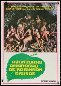 3t0016 EROTIC ADVENTURES OF ROBINSON CRUSOE Venezuelan 1975 Casey surrounded by sexy women!
