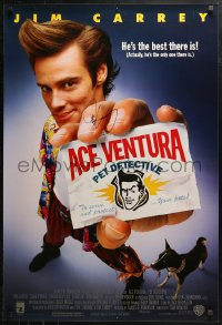 3y0007 ACE VENTURA PET DETECTIVE signed 1sh 1994 by Jim Carrey, his greatest comedy movie!