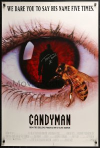 3y0024 CANDYMAN signed 1sh 1992 by Tony Todd, creepy close image of bee & silhouette in eyeball!
