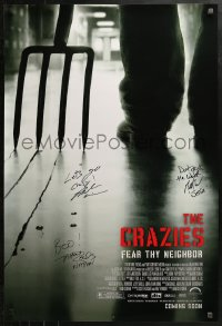 3y0031 CRAZIES signed advance 1sh 2010 by director Breck Eisner, Brett Wagner, AND Tahmus Rounds!