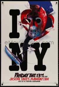 3y0040 FRIDAY THE 13th PART VIII signed recalled teaser 1sh 1989 by Kane Hodder, Jason Takes Manhattan!