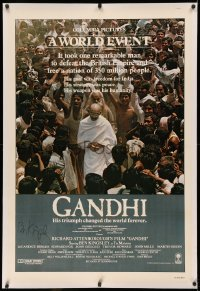 3y0001 GANDHI signed linen int'l 1sh 1982 by Ben Kingsley, as The Mahatma, Richard Attenborough!