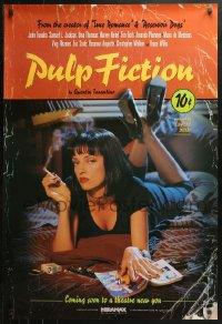 3y0002 PULP FICTION signed advance 1sh 1994 by Quentin Tarantino, Uma Thurman smoking Lucky Strikes!