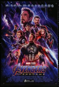 4a0723 AVENGERS: ENDGAME advance DS 1sh 2019 Marvel Comics, cool montage with Hemsworth & top cast!
