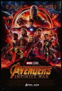 4a0724 AVENGERS: INFINITY WAR advance DS 1sh 2018 Robert Downey Jr., montage of top cast in circle!