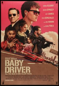 4a0726 BABY DRIVER int'l advance DS 1sh 2017 Ansel Elgort in title role, Foxx, artwork by Rory Kurtz!