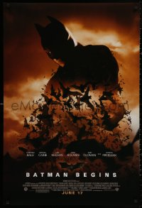 4a0736 BATMAN BEGINS advance DS 1sh 2005 June 17, image of Christian Bale's head and cowl over bats!