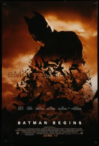 4a0734 BATMAN BEGINS advance 1sh 2005 June 17, image of Christian Bale's head and cowl over bats!