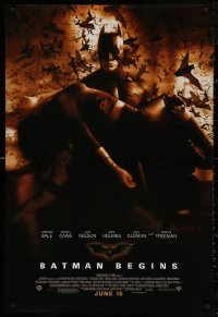 4a0735 BATMAN BEGINS advance DS 1sh 2005 June 15, great image of Christian Bale carrying Katie Holmes