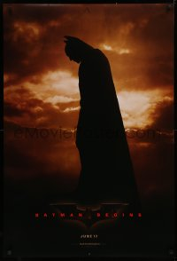 4a0737 BATMAN BEGINS teaser DS 1sh 2005 June 17, full-length image of Christian Bale in title role!