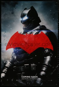 4a0740 BATMAN V SUPERMAN int'l teaser DS 1sh 2016 cool image of armored Ben Affleck in title role!