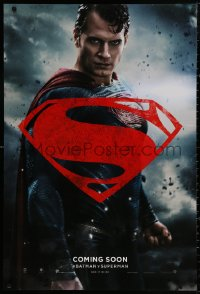 4a0742 BATMAN V SUPERMAN int'l teaser DS 1sh 2016 waist-high image of Henry Cavill in title role!