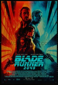 4a0760 BLADE RUNNER 2049 advance DS 1sh 2017 great montage image with Harrison Ford & Ryan Gosling!