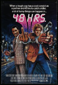 4a0010 48 HRS. English 1sh 1983 Bysouth art of Nick Nolte w/gun & Eddie Murphy giving the finger!