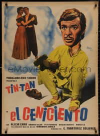 4a0012 EL CENICIENTO Mexican poster 1952 different Josep Renau artwork of German Valdes as Tin-Tan!