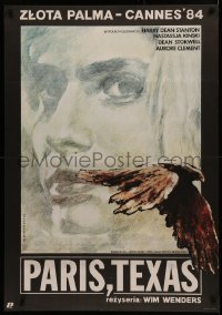 4a0032 PARIS, TEXAS Polish 27x38 1985 Harry Dean Stanton, art of Kinski by Witold Dybowski!