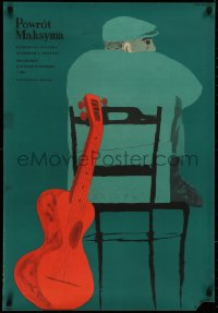 4a0029 RETURN OF MAXIM Polish 23x33 1956 Vozvrashcheniye Maksima, Jan Lenica art of man and guitar!