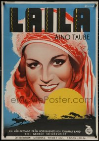 4a0008 LAILA Swedish 1937 Eric Rohman art of Aino Taube in the title role, wolf chase, ultra rare!