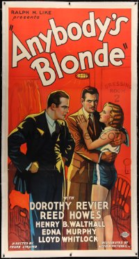 4b0004 ANYBODY'S BLONDE linen 3sh 1931 reporter Dorothy Revier plays with a boxer's affections, rare!