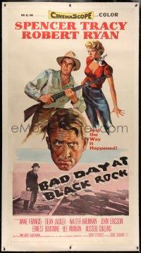 4b0005 BAD DAY AT BLACK ROCK linen 3sh 1955 art of Spencer Tracy, Robert Ryan & sexy Anne Francis!
