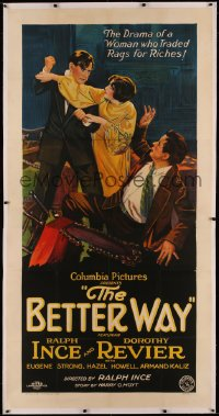 4b0006 BETTER WAY linen 3sh 1926 art of Armand Kaliz & Ralph Ince fighting over Dorothy Revier, rare!