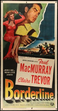 4b0010 BORDERLINE linen 3sh 1950 different image of Fred MacMurray & sexy bad girl Claire Trevor!