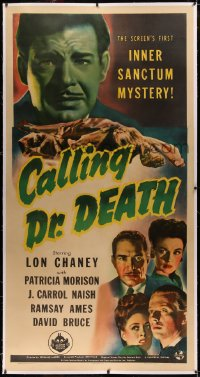 4b0012 CALLING DR. DEATH linen 3sh 1943 Lon Chaney Jr. in the first Inner Sanctum Mystery, very rare!