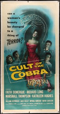 4b0013 CULT OF THE COBRA linen 3sh 1955 art of sexy Faith Domergue, who changes into a giant snake!