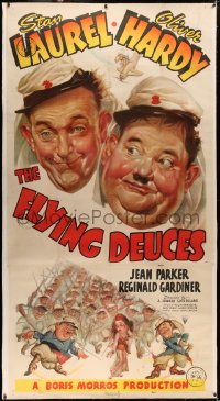 4b0014 FLYING DEUCES linen 3sh 1939 great art of Legionnaires Stan Laurel & Oliver Hardy, very rare!