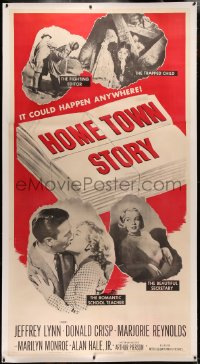 4b0015 HOME TOWN STORY linen 3sh 1951 Marilyn Monroe as the beautiful secretary is shown, ultra rare!