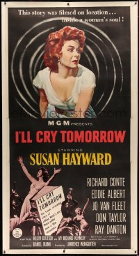 4b0016 I'LL CRY TOMORROW linen 3sh 1955 art of distressed Susan Hayward in her greatest performance!