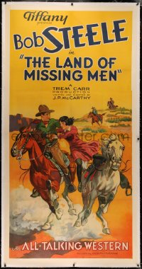 4b0017 LAND OF MISSING MEN linen 3sh 1930 art of cowboy Bob Steele rescuing woman on horse, rare!